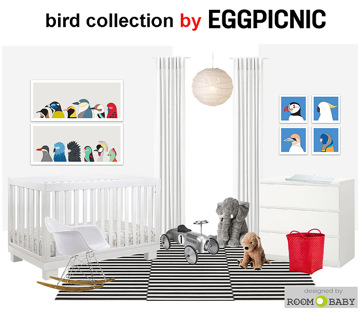 roomobaby | white nursery features birds collection by eggpicnic
