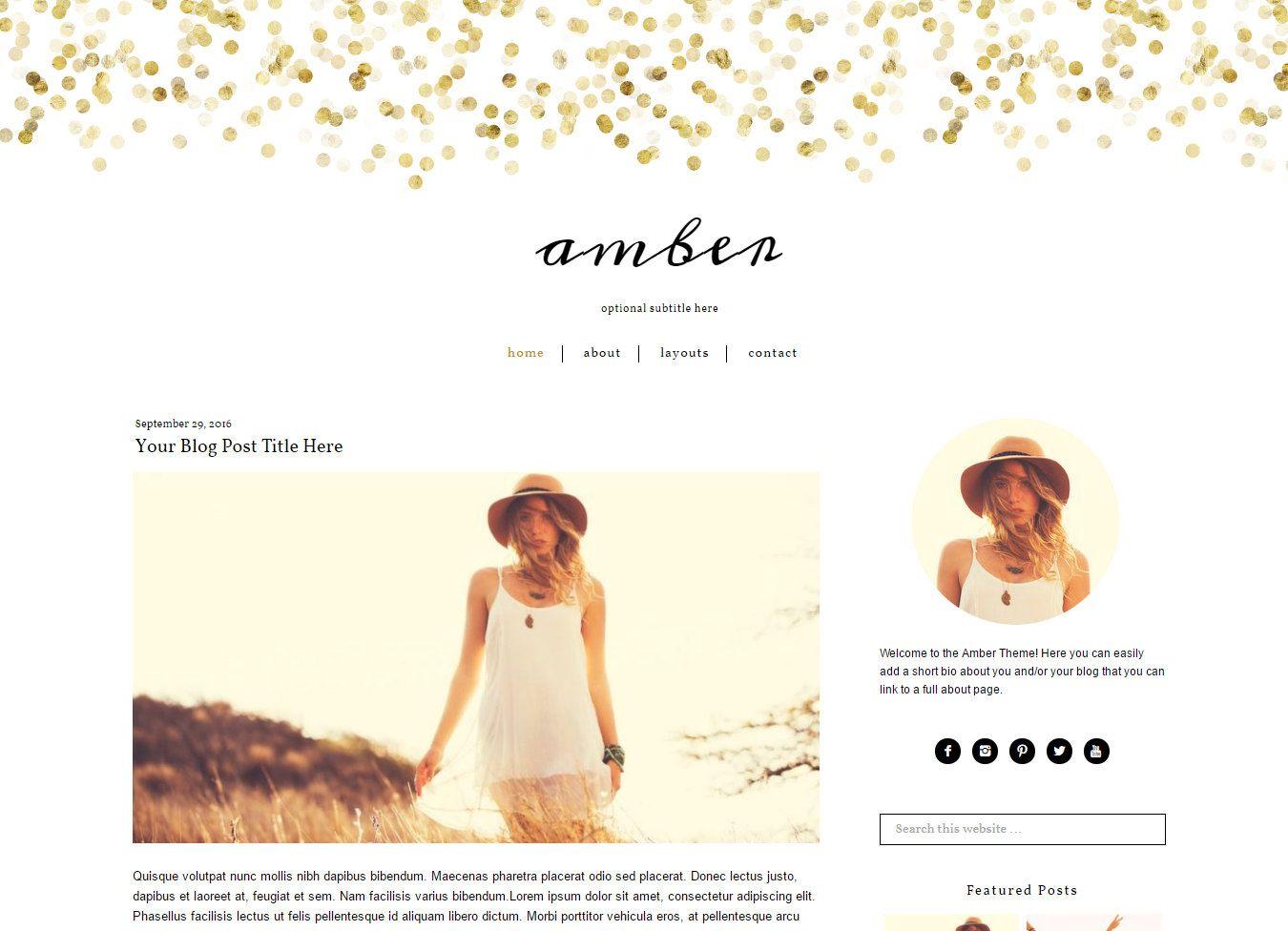 Wordpress Theme Gold Wordpress Blog Theme Feminine Wordpress