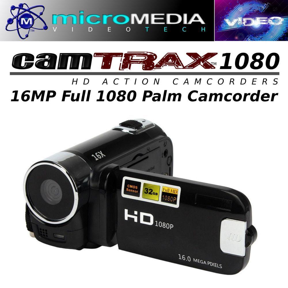 CamTRAX 1080 HD Palm Camcorder 16MP+ 8GB SD Card Bundlle- 16X Zoom Antishake #CamTRAX