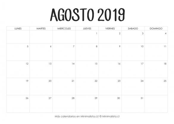 Calendario De Agosto 2019 Decorado.Calendario Agosto 2019 Para Imprimir Decoracion Y