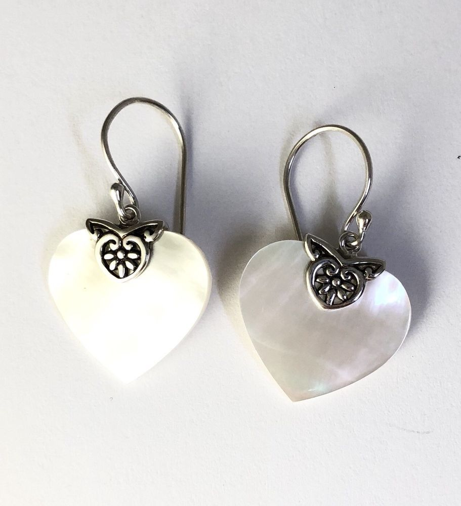 Sterling Silver Heart Shaped White Mother Of Pearl Filigree Dangle Earrings Unbranded Dropdangle
