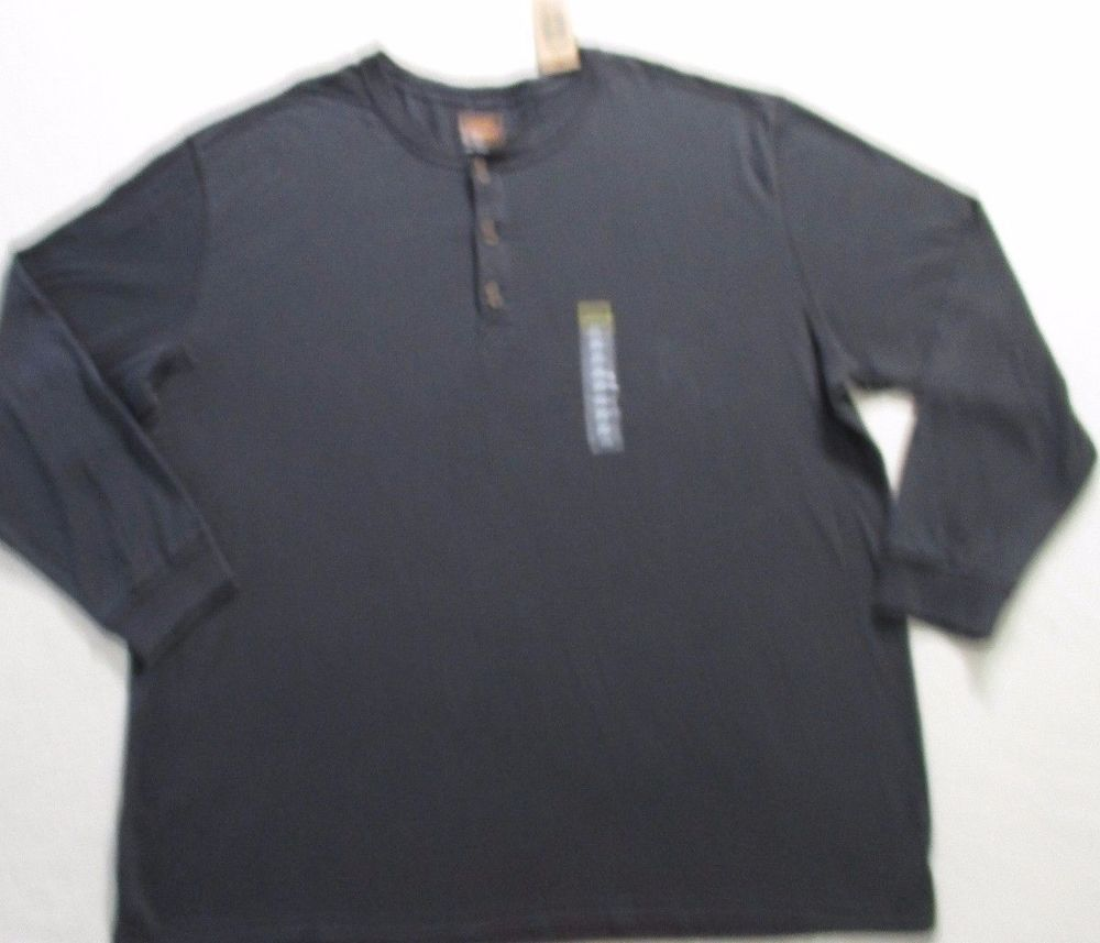 The Foundry Supply Men T Shirt 3XLT Gray Solid Henley Long Sleeves Cotton 17119 #Grays #Henley