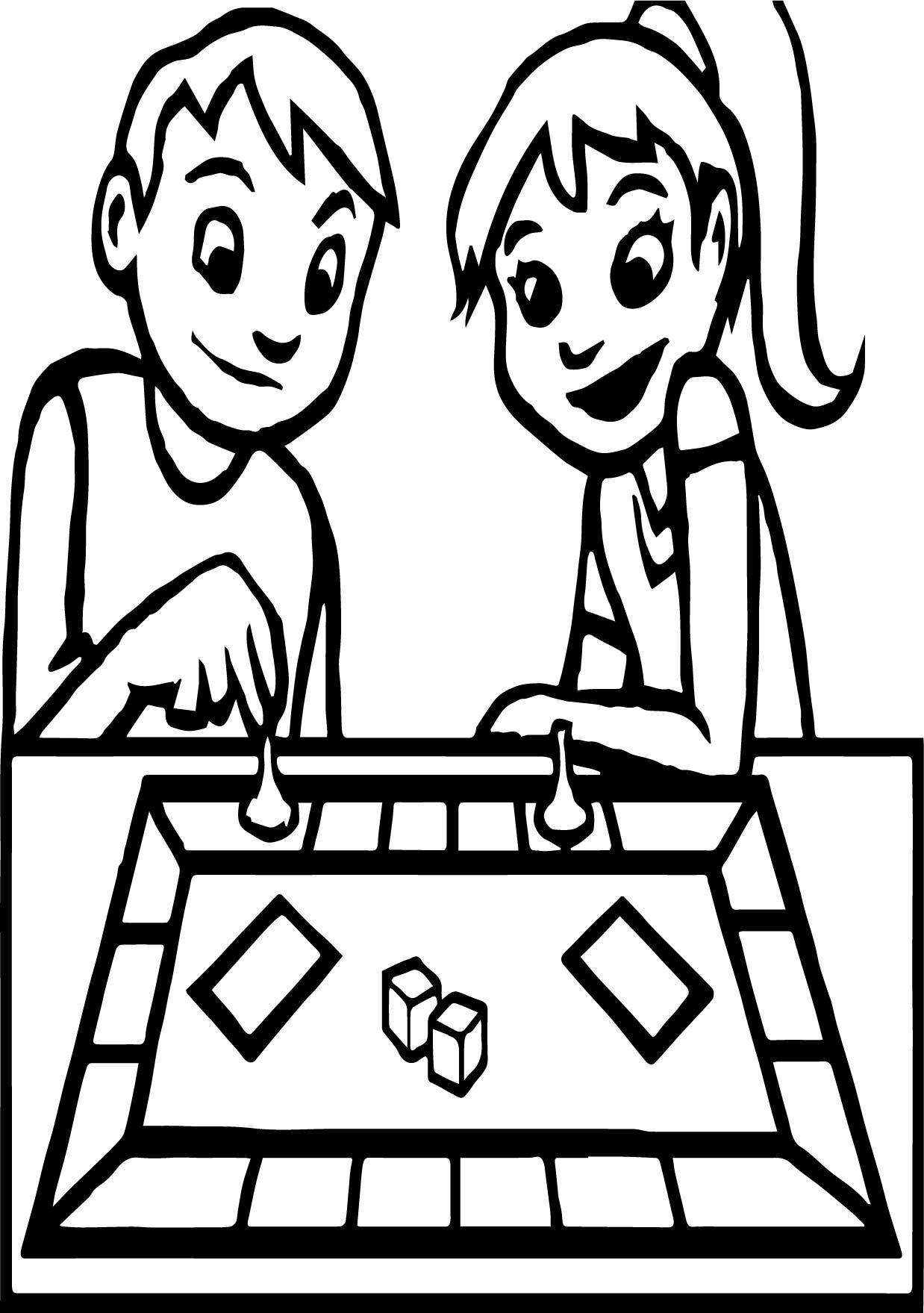 cool Board Game Boy And Girl Coloring Page Free online