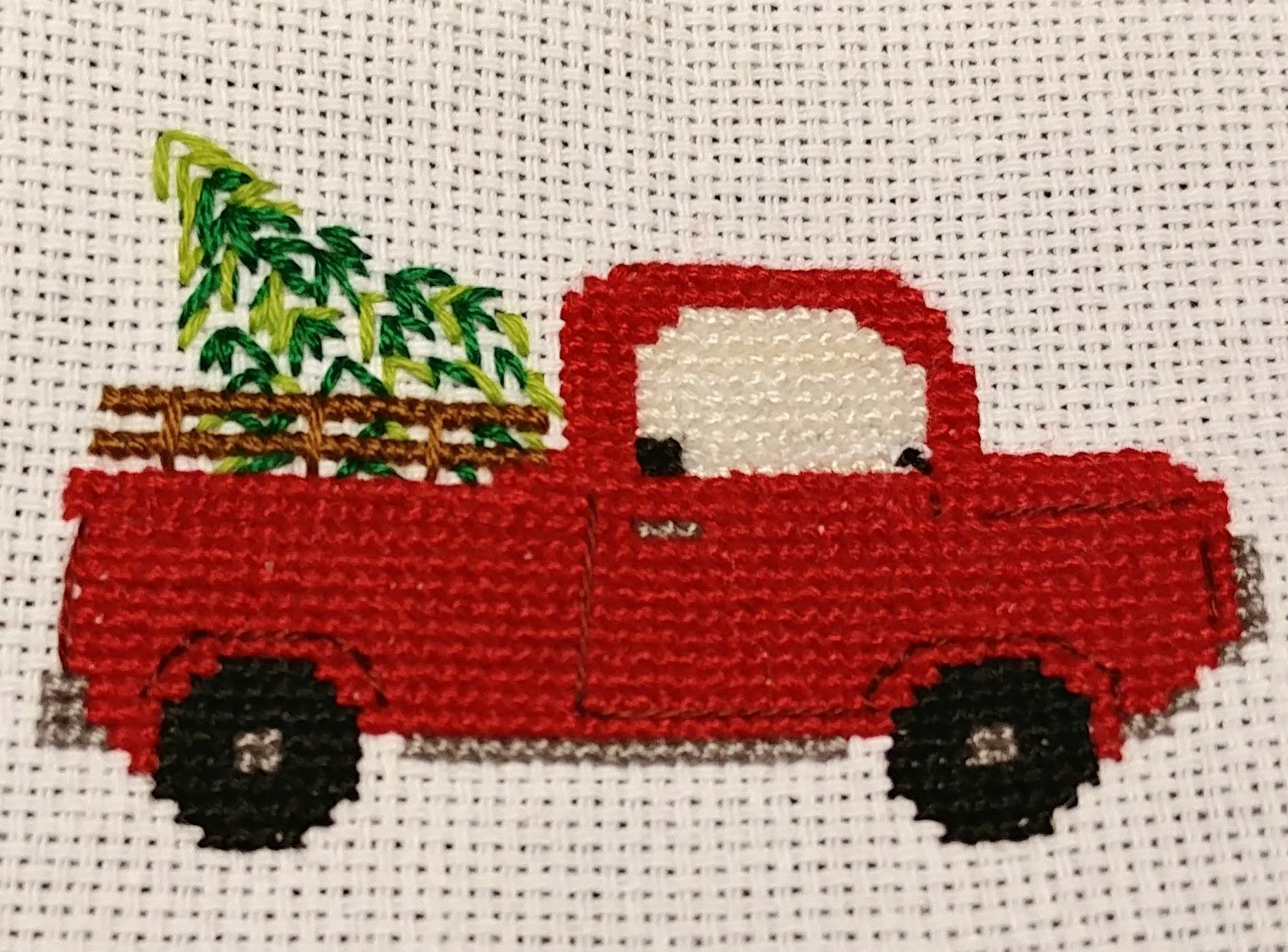 Vintage Red Pick Up Truck Cross Stitch (christmas Tree