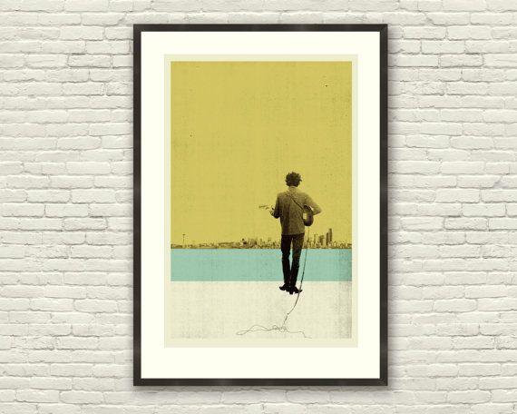 Bob Dylan Inspired 20 x 30 Handprinted Silkscreen Art Print, DYLAN ...