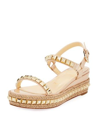 2b186f35c53 Cataclou Two-Band Red Sole Wedge Sandal Nude | Shoe Soul | Platform ...