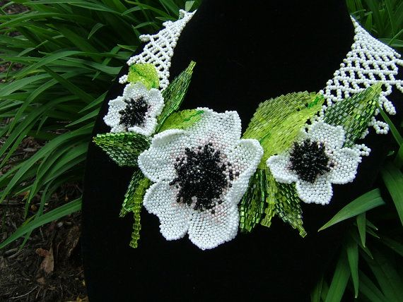 Green as grass....beadwork neck collar by TraditionsJewels on Etsy, $150.00