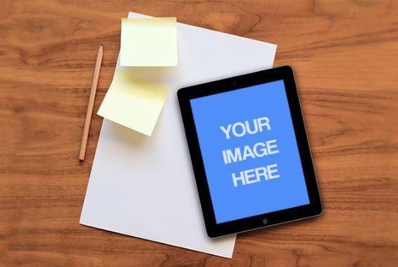 Ipad & Papers On Wood Desk Mockup Template | ShareTemplates