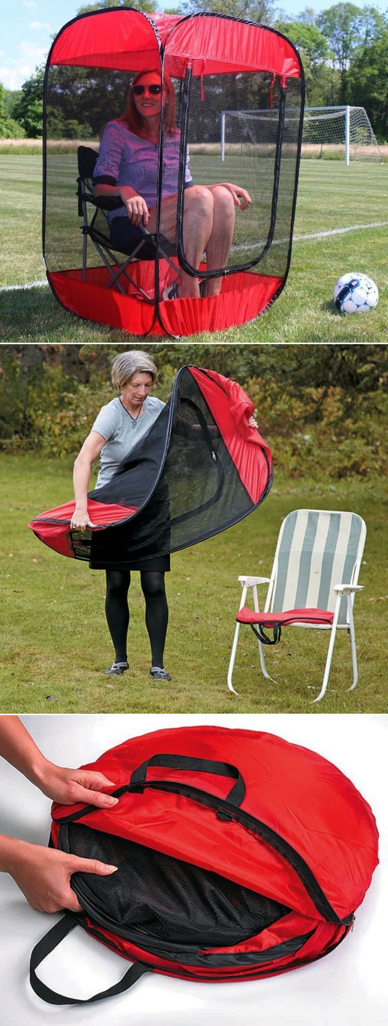 Mosquito Pop Up Screen Chair Tent Red