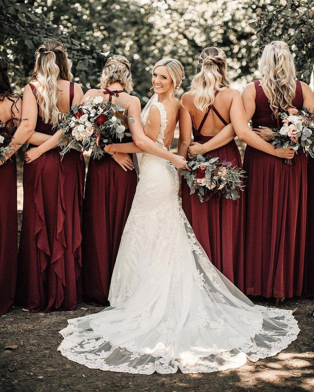 The wedding bliss on instagram uclove these wine colored bridesmaids