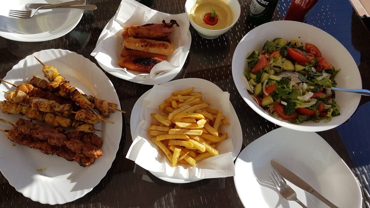 Prepared lunch by me and my husband in Spain