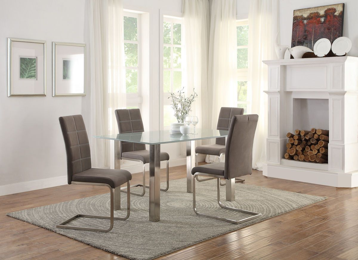 Home elegance nerissa collection dining table crackle glass top