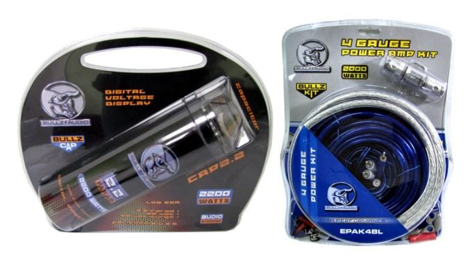 Bullz Audio Capacitor 2 2 Farad Power Bullz Audio Amp Kit 4 Gauge Wiring Kit