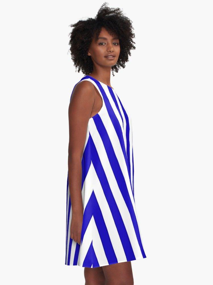 Deep Blue Marine Stripes Pattern Vertical Lines A Line Dress By Cool Shirts Marine Stripe A Line Dress Girl Outfits