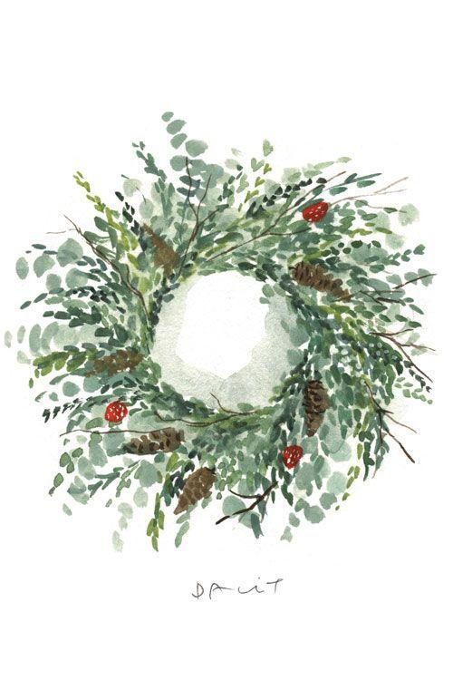 Photo of Festive wreath illustration