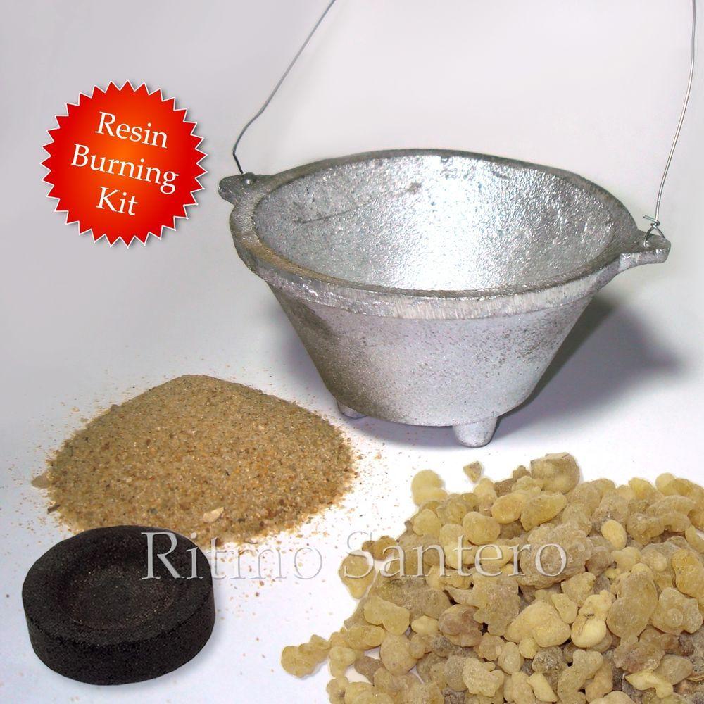 Kit of INCENSE BURNER+RESIN TEARS+COAL+SAND Set Aluminum
