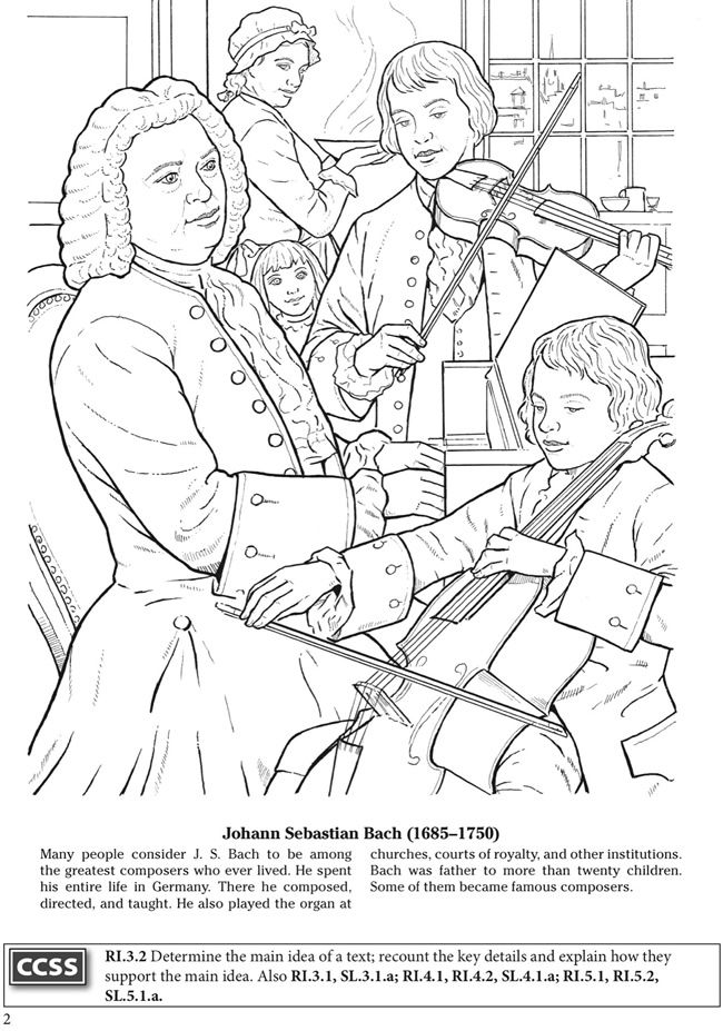 BOOST Great Composers Coloring Book Dover Publications