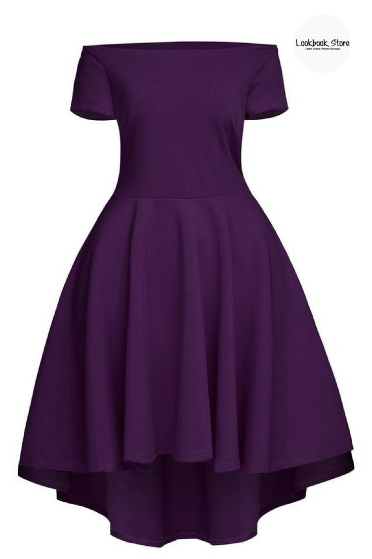 b5fbb1ff18fe Dress    Turn into a crowd s ultimate sweetheart with this purple off- shoulder high-low skater dress.