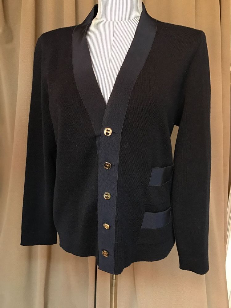 Salvatore Ferragamo navy blue gold buttons nautical cardigan ...