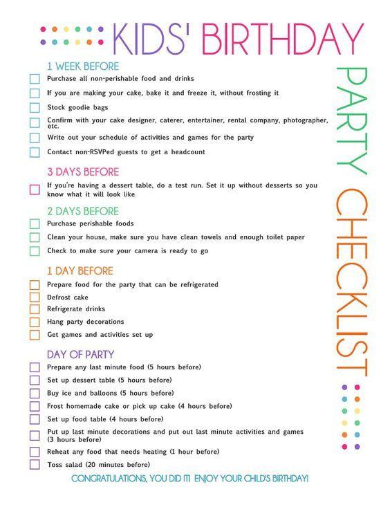 kids bday checklist printable ~Birthdays~General Ideas - birthday party checklist template