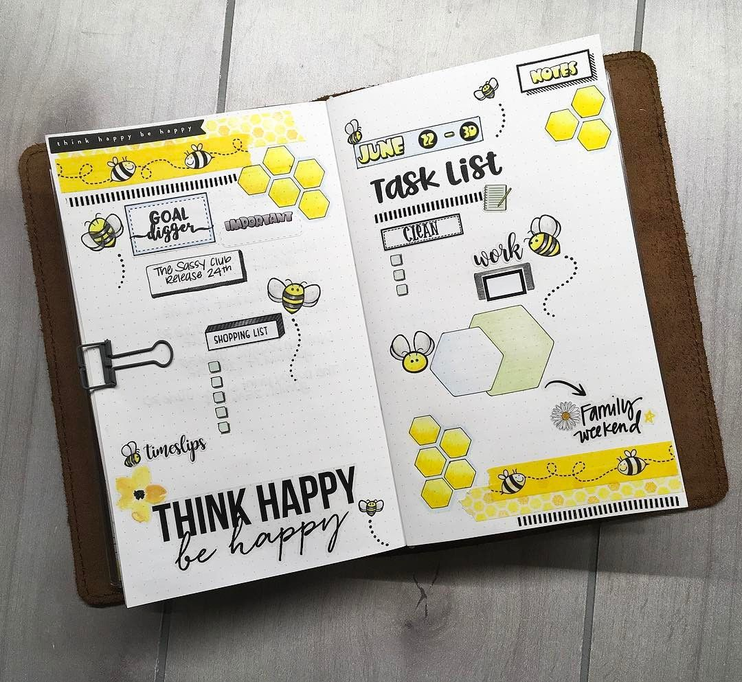 Bee Bullet Journal ~ 20+ images bee bullet journal spreads my ...