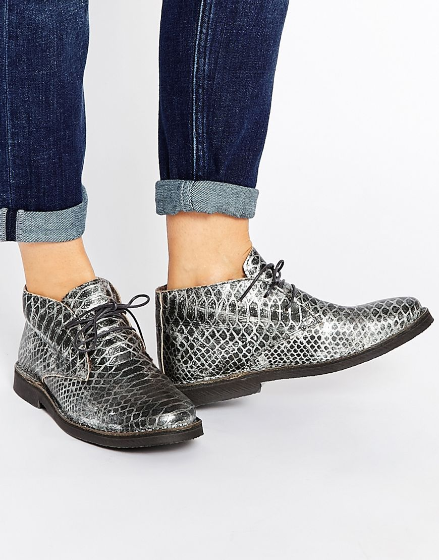 Buy Women Shoes / Selected Femme Lulu Silver Metallic Leather Warm Lined Ankle Boots