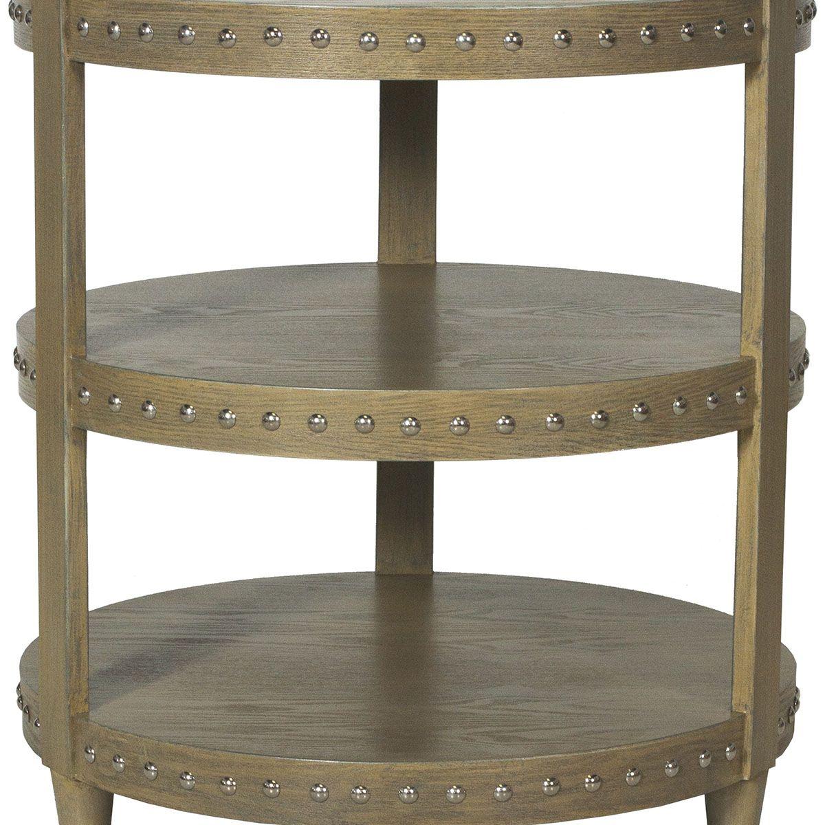 Worlds Away Tier Limed Oak Veneer Nickel Studded Side Table NORA - Studded coffee table