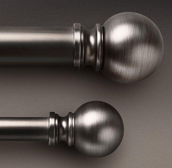 Restoration Hardware - Antique Silver Ball Finial & Rod Set. 3/4