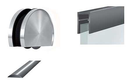 Kit complet roulette au sol Soho 2 pour panneau verre  Kit complet