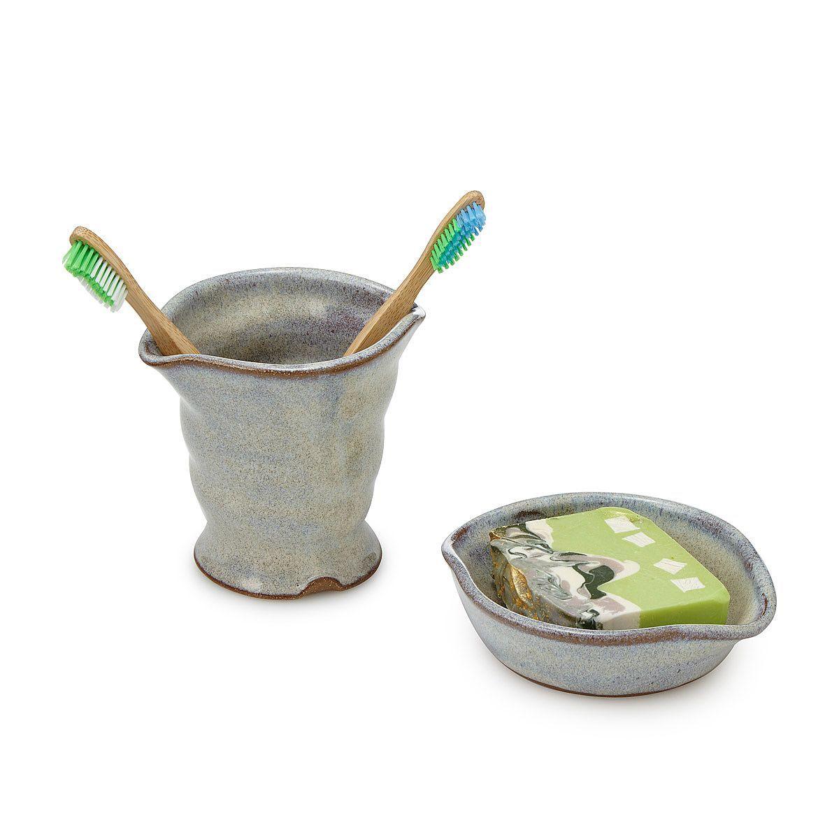 Stoneware Bath Decor Toothbrush Holder Soap Dish Bath Decor Pottery Mugs Stoneware