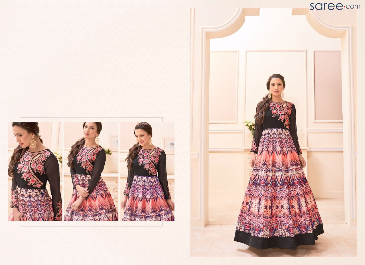 BLACK AND MULTI COLOR BANGALORE SILK SUIT WITH EMBROIDERY WORK