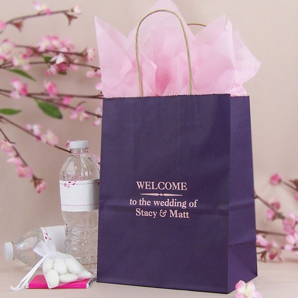 8 X 10 Custom Printed Paper Wedding Hotel Guest Gift Bags Set Of 25