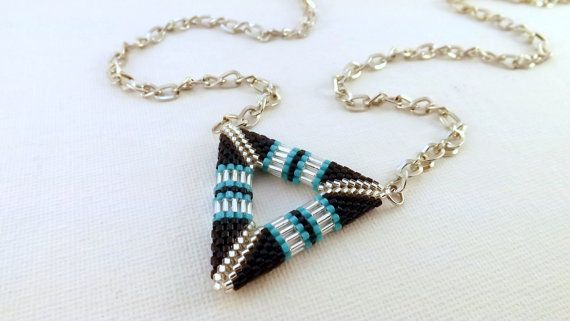 Beadwork Peyote Triangle Pendant 3D Necklace Beaded Seed Beads. $26.00, via Etsy.
