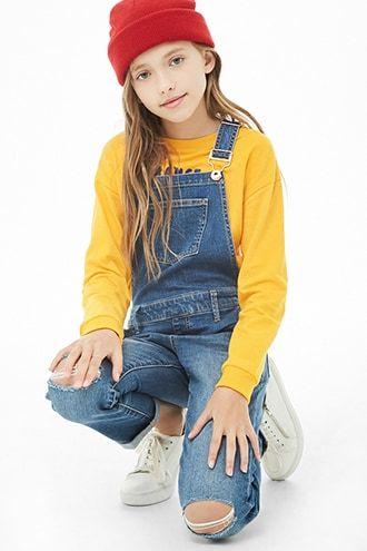 79427ece8d1 Girls Denim Ripped-Knee Overalls (Kids)