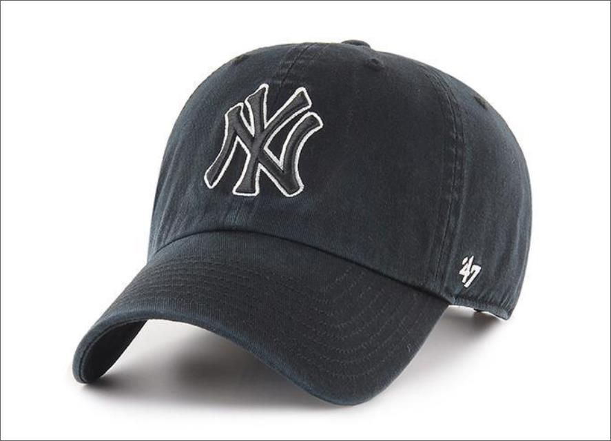 New York Yankees Dad Hat Black White Outline 47 Brand Mlb Cleanup Unstructured Baseball Cap Baseball Hats Hats For Men Baseball