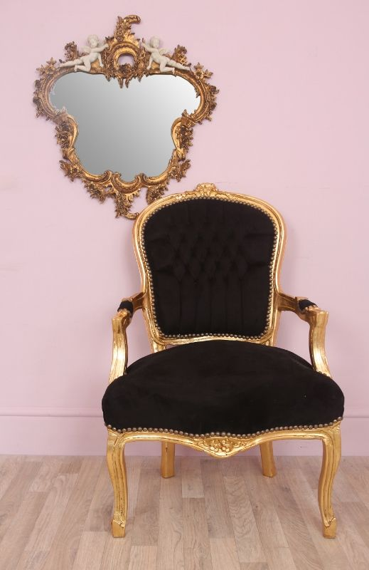 Black And Gold Chair Louis Style Salon Chair Black Velveteen With Gold Frame Gold Chair Armchair Chair