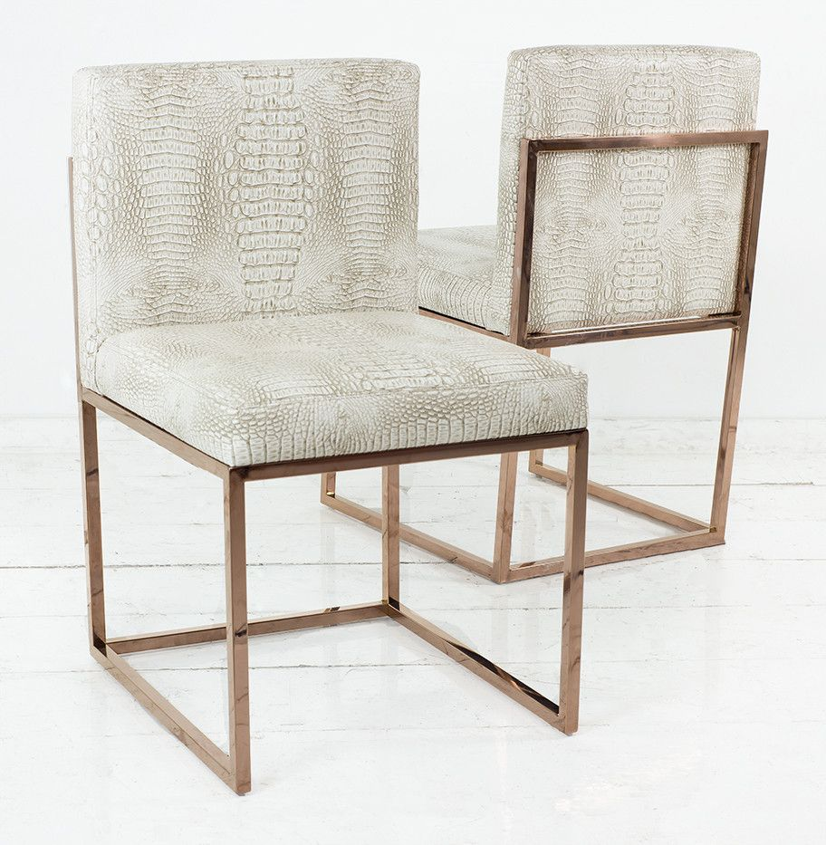 007 Dining Chair With Rose Gold Frame Modern Dining Chairs