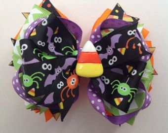 Halloween Stacked Hair bows by Deescrafty on Etsy