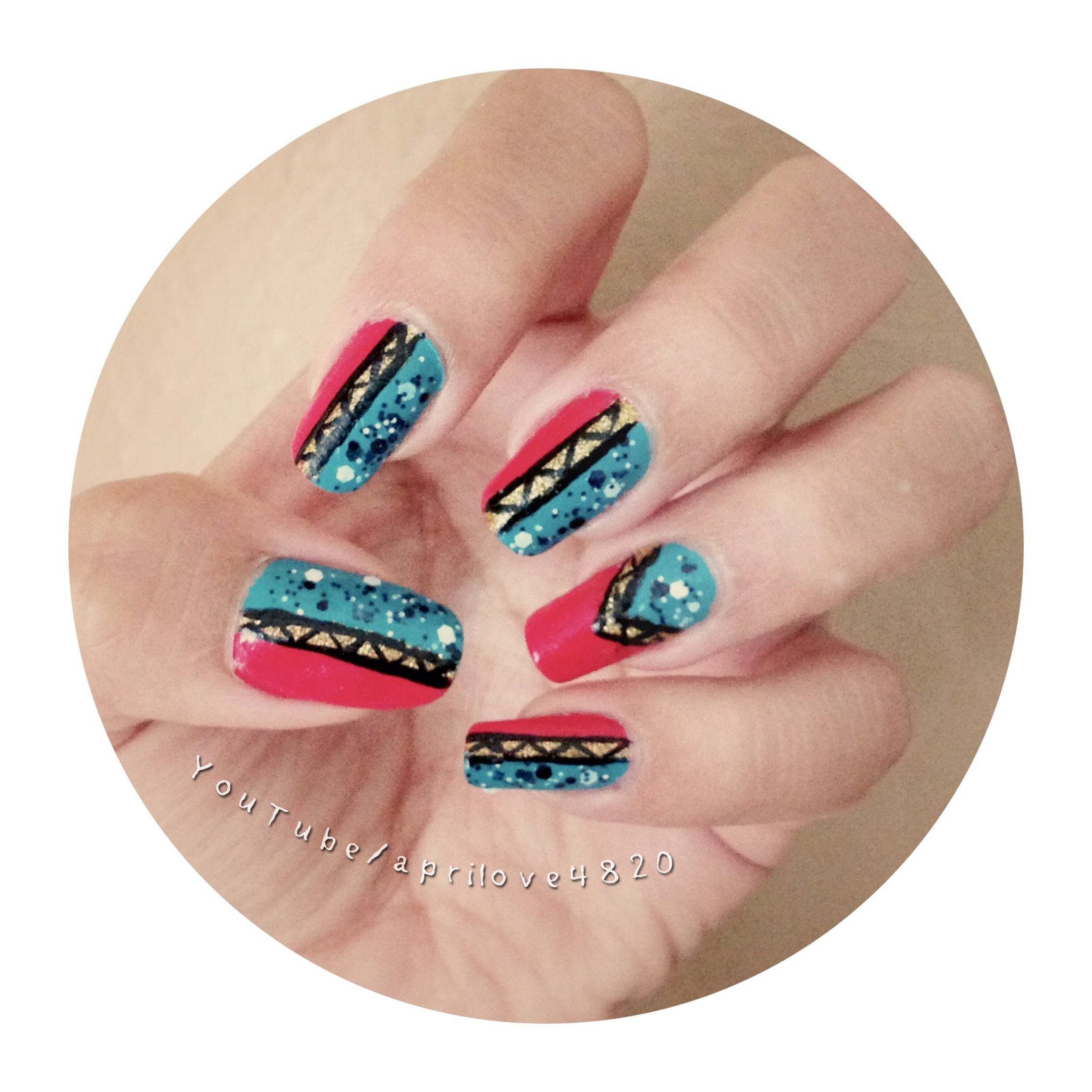 Easy tribal nail tutorial http://www.youtube.com/aprilove4820 #nails ...