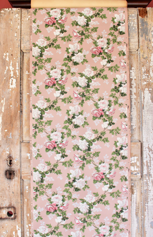 Shabby Chic Vintage Home Decor PinkRed White Roses Floral