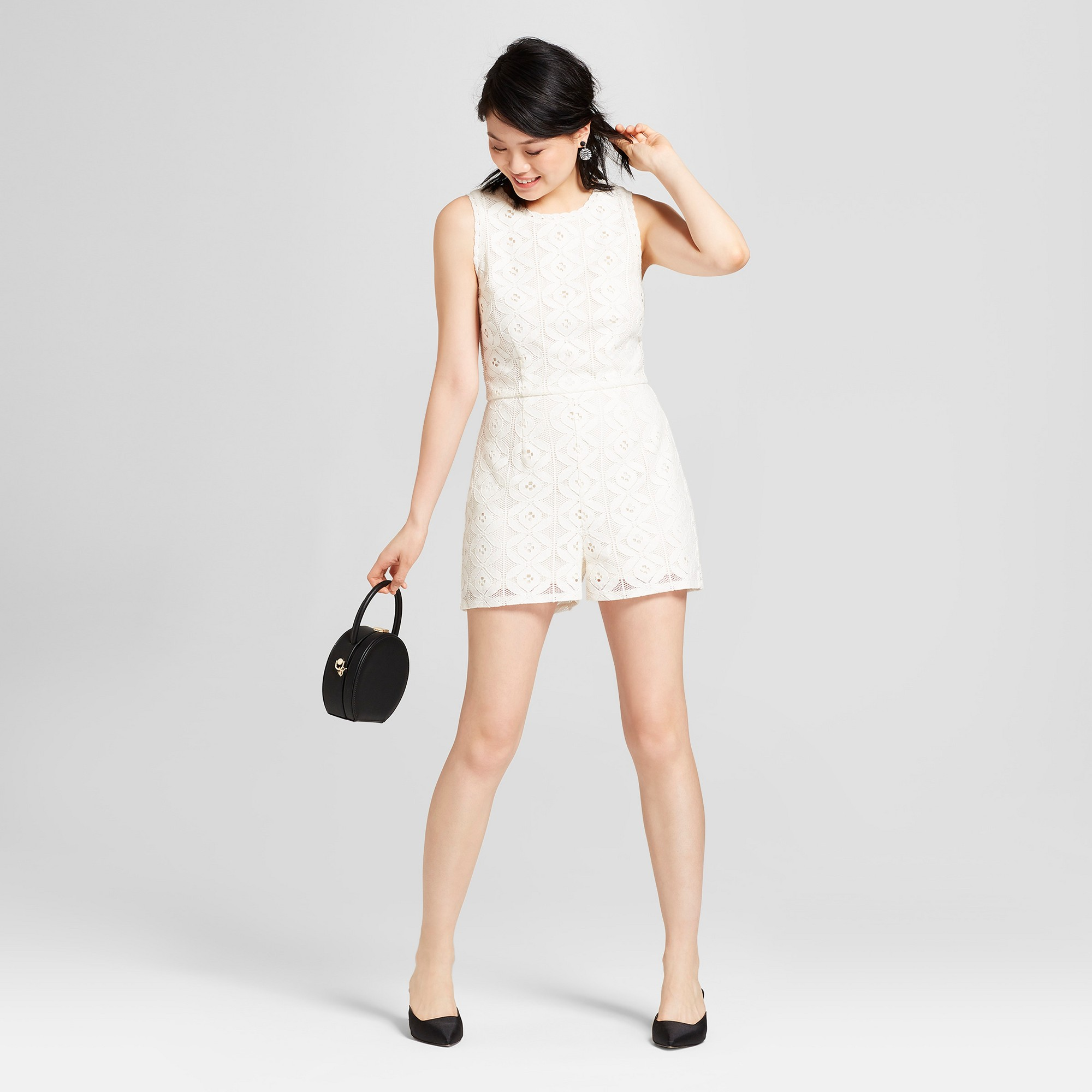 94ae7f2d33 Women's Lace Romper with Back Ties - Xhilaration Ivory L, White ...