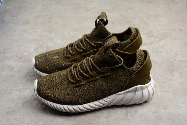 Mens adidas Tubular Doom Sock Primeknit Trace Olive White Night Cargo  CQ0683-2 f962c244ef