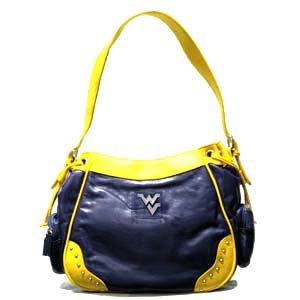 West Virginia Super Max Collegiate Purse with side pockets, soft leather-like feel.  Other schools.