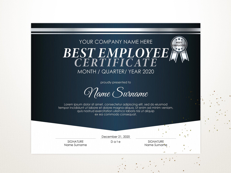 Editable Best Employee Certificate Template Corporate Award Etsy In 2021 Certificate Templates Editable Certificates Templates Employee of the year certificates