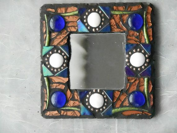 X Grouted Mosiac Mirror On A Wood Base Copper Vangogh Glass - 5x5 mirror tiles