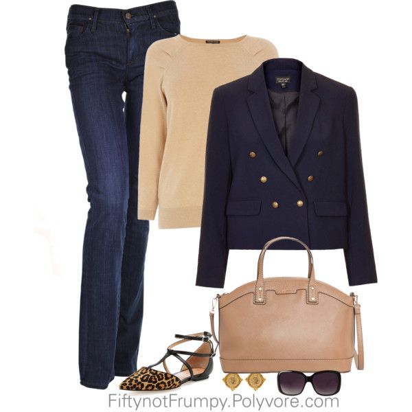 """""""Navy and Camel"""" by fiftynotfrumpy on Polyvore"""