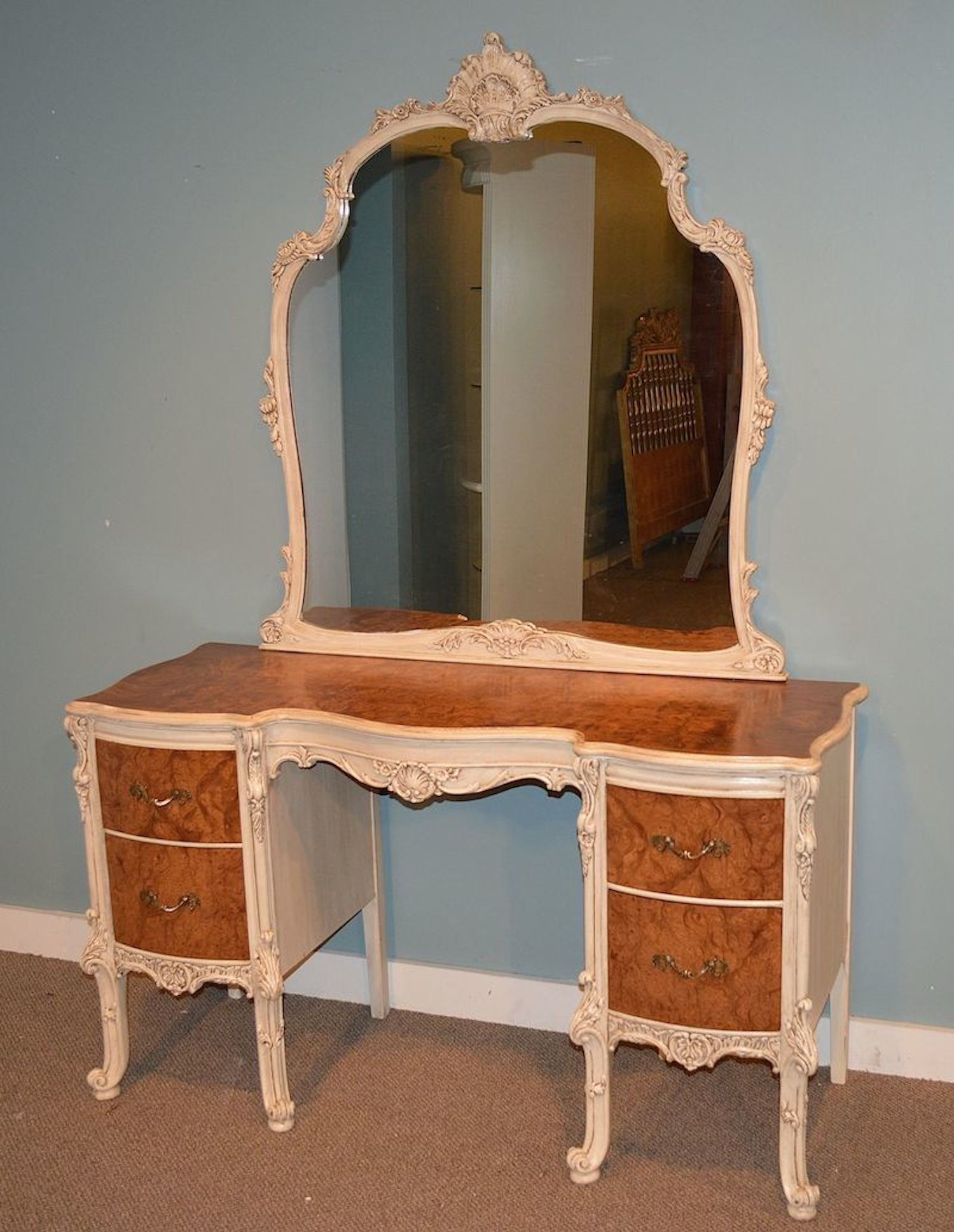 Vintage Ornate French Provincial Style Vanity Dressing Table And Mirror Rox Age 70 Yrs Old Fully Red Very Clean Condition Truly