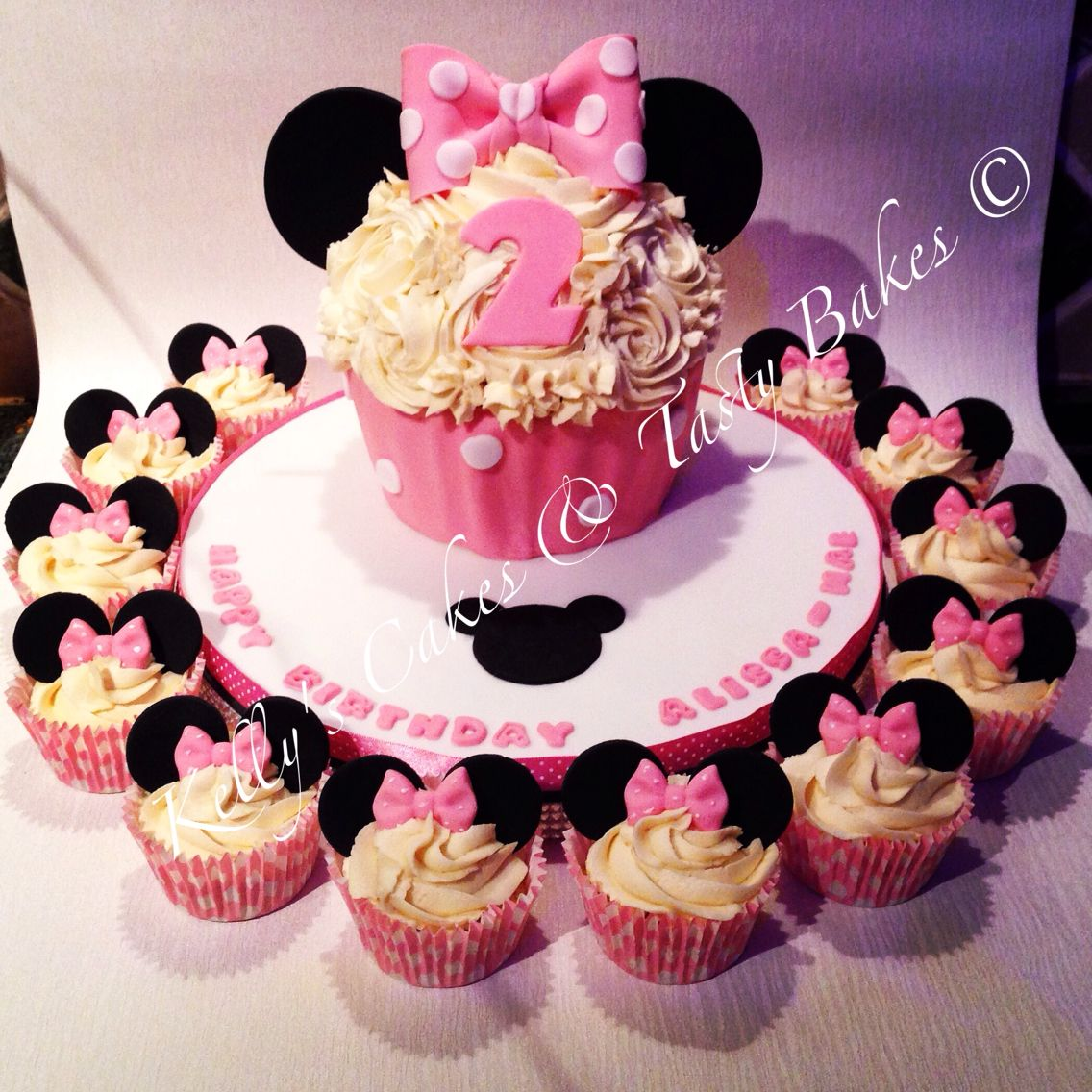 Peachy Minnie Mouse Inspired Giant Cupcake With Matching Small Cupcakes Funny Birthday Cards Online Inifofree Goldxyz
