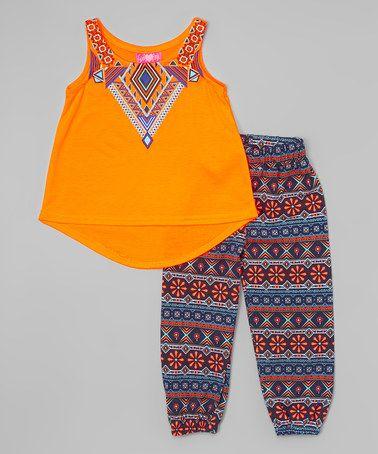 Look at this #zulilyfind! Neon Orange Tank & Geometric Leggings - Girls #zulilyfinds