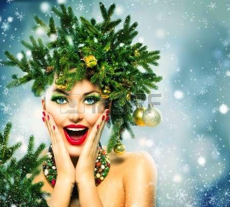 acconciature: Donna di Natale Vacanze di Natale acconciatura e trucco
